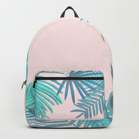 BLUSH AND TEAL TROPICAL Backpack
