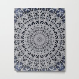 Gray and blue mandala Metal Print