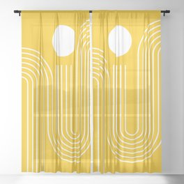 Geometric Lines in Mustard Yellow (Sunrise over the sea) Sheer Curtain