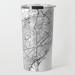 Barcelona White Map Travel Mug