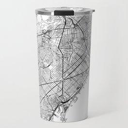 Barcelona White Map Travel Mug