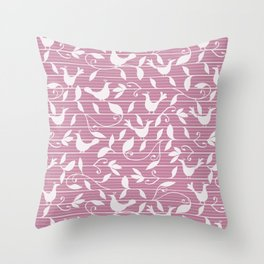 Pink birds and foliage on stripes Throw Pillow