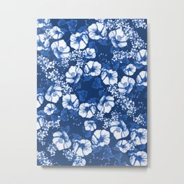 Midnight Blooms - Blue Porcelain  Metal Print