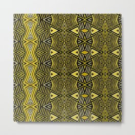 African BaKuba Tribal Shield - Black Yellow Metal Print