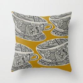 Morning Cuppa! - tea coffee lover zentangle Throw Pillow