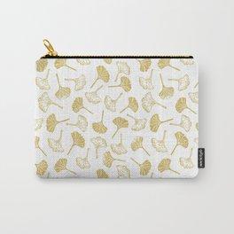 Ginkgo Biloba linocut pattern GLITTER GOLD Carry-All Pouch
