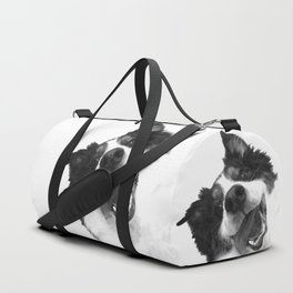 Black and White Happy Dog Duffle Bag