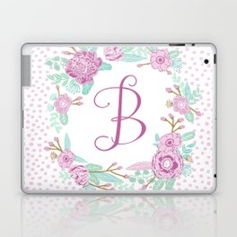 Monogram B - cute girls purple florals flower wreath, lilac florals, baby girl, baby blanket Laptop & iPad Skin