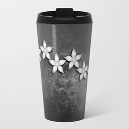 Spectacular silver flowers on black grunge texture Travel Mug
