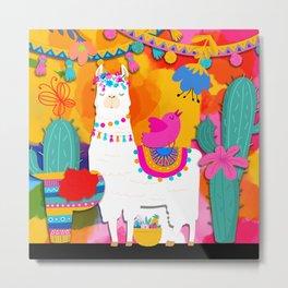 Fiesta Llama Metal Print