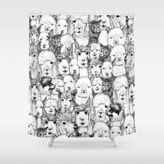 just alpacas black white Shower Curtain