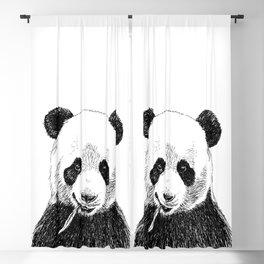 Panda Head Sketch Blackout Curtain
