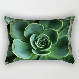 JADE GREEN SUCCULENT ROSETTES DESIGN Rectangular Pillow
