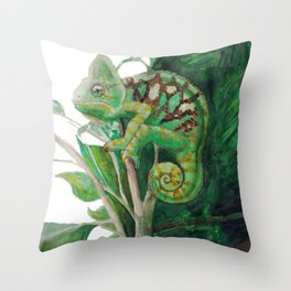 Chameleon in Watercolour Throw Pillow