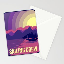 RETRO SAILBOAT in Moonshine Sailing Crew Sailor Sailing Gift Stationery Cards
