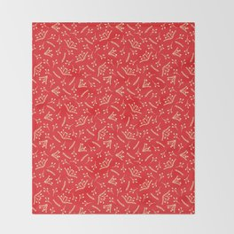 Christmas Branches and Berries in red and yellow Throw Blanket
