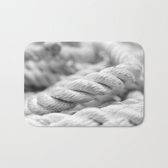 Ropes black and white macro Bath Mat