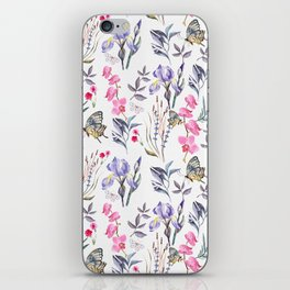 Pink lavender watercolor hand painted orchid floral butterfly iPhone Skin