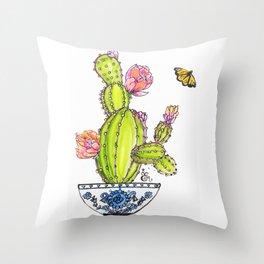 Happy Cactus Throw Pillow