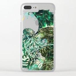 Cthulhu vs Godzilla Clear iPhone Case