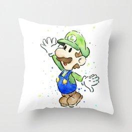 Luigi Watercolor Mario Nintendo Art Throw Pillow