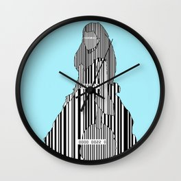 Whistler in Barcode, Harmony in Grey and Green, Charlotte-Blue Wall Clock