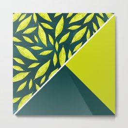 Neon green leaves color block Metal Print