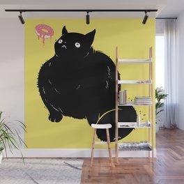 Big Chonker Cat Looking At Donut Art Wall Mural
