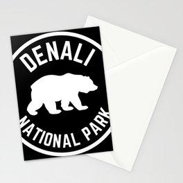 Denali National Park Nature Alaska Grizzly Bear Vintage Travel Sign Stationery Cards
