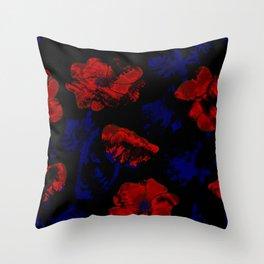 Abstract pattern . Orange poppies. Throw Pillow