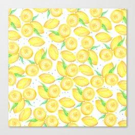 Sunshine yellow orange blue watercolor lemon fruit pattern Canvas Print