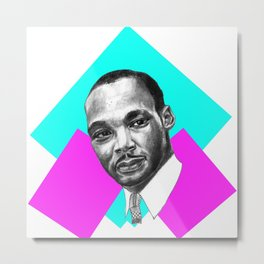MARTIN LUTHER KING IN PINK & TURQUOISE Metal Print