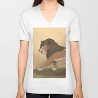 lions V-neck T-shirts featuring Running lions by Drawing For Hope