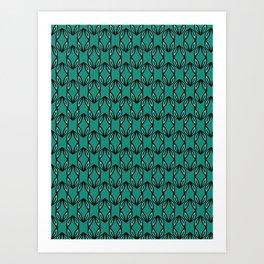 Green Leaf Folk Decor Lineart Art Print