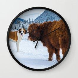 St bernard VS a Hairy cow Wall Clock
