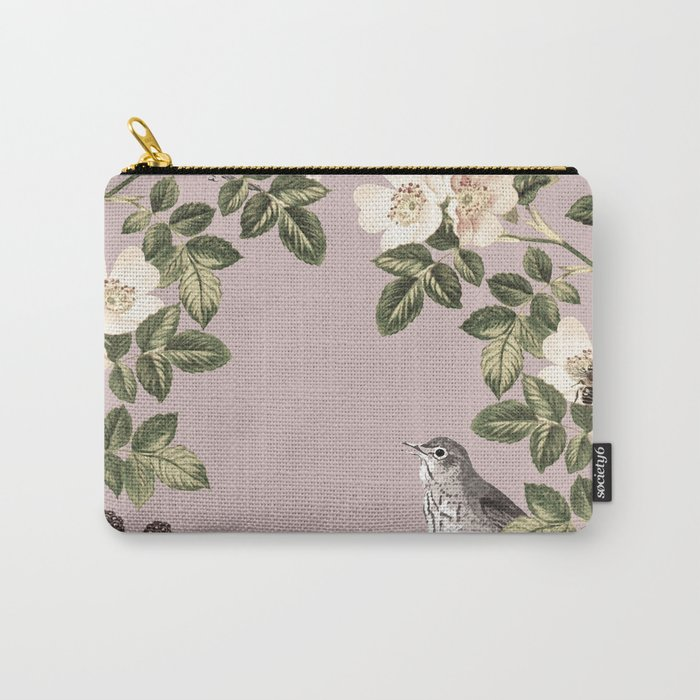 Birds and the Bees Pink Berry Carry-All Pouch