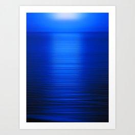 Sunset on the Water-Deep Blue Art Print