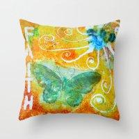 faith Throw Pillows featuring Faith  by kathleentennant