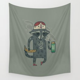 "Raccoon wearing human ""hat"" Wall Tapestry"