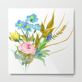 Beautiful Watercolor of Bouquet of Flowers Metal Print