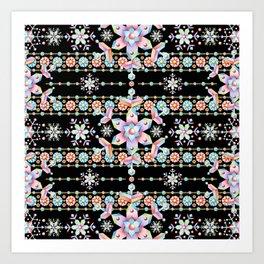 Folkloric Snowflakes Art Print