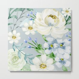 White and Blue Flowers Metal Print