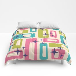 Retro Mid Century Modern Abstract Pattern 927 Pink Chartreuse Turquoise Comforters