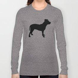 Pitbull silhouette black and white minimal modern dog breed art pillow square Long Sleeve T-shirt