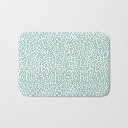 Mint Leopard Print Bath Mat