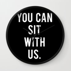 you can sit with us, black Wall Clock