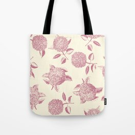 Big lush hydrangea flowers on off-white background seamless pattern. Pale pink. Atemporal, classic. Tote Bag