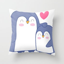 Cute Penguin Love Throw Pillow