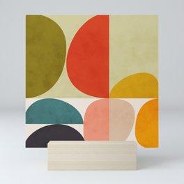 shapes of mid century geometry art Mini Art Print