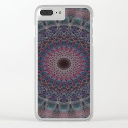 Mandala in blue and red tones Clear iPhone Case